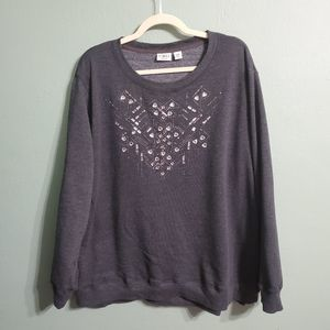 Cato Embellished Gray Sweater Size 26 28W